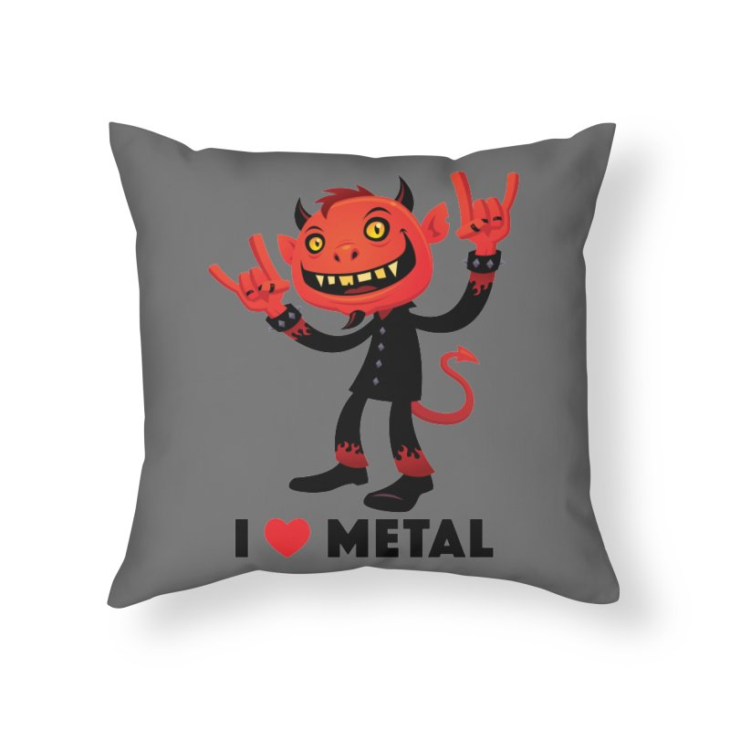 I Love Metal Devil Home Throw Pillow by Fizzgig's Artist Shop