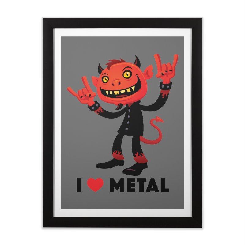 I Love Metal Devil Home Framed Fine Art Print by Fizzgig's Artist Shop
