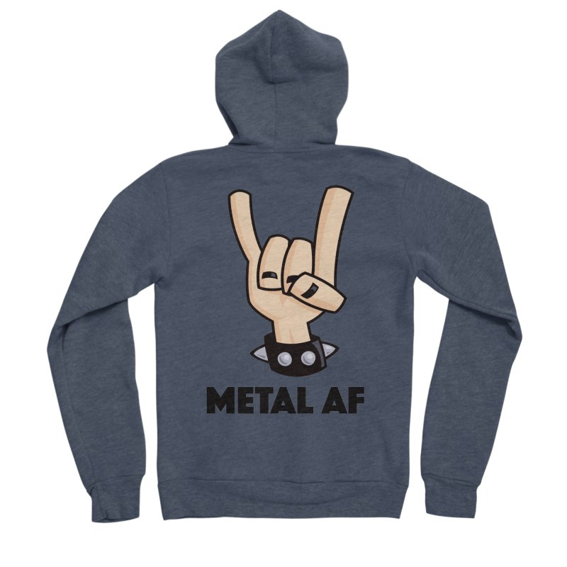 Metal AF Devil Horns Men's Sponge Fleece Zip-Up Hoody by Fizzgig's Artist Shop