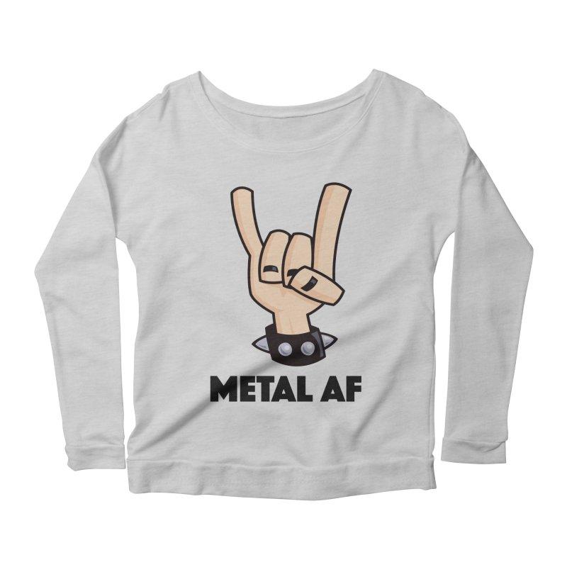 Metal AF Devil Horns Women's Scoop Neck Longsleeve T-Shirt by Fizzgig's Artist Shop