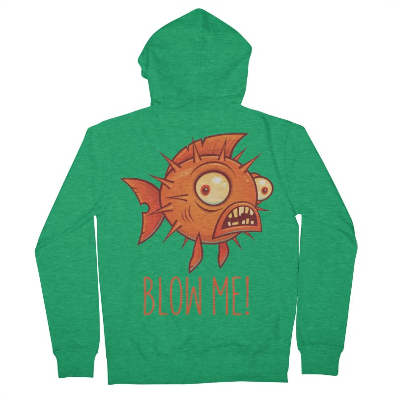 Blow Me Porcupine Blowfish Men's French Terry Zip-Up Hoody by Fizzgig's Artist Shop