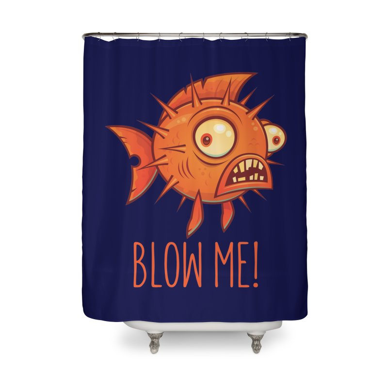 Blow Me Porcupine Blowfish Home Shower Curtain by Fizzgig's Artist Shop