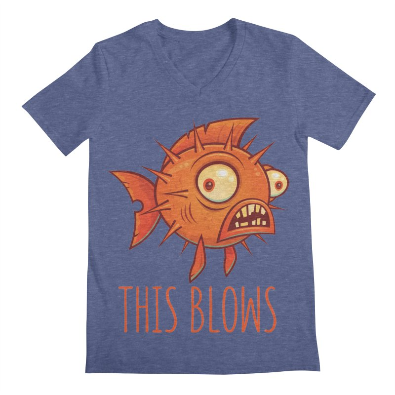 This Blows Porcupine Blowfish Men's Regular V-Neck by Fizzgig's Artist Shop