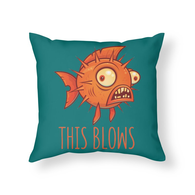 This Blows Porcupine Blowfish Home Throw Pillow by Fizzgig's Artist Shop