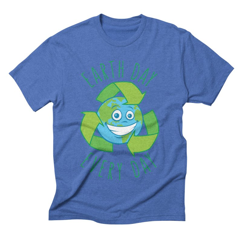 Earth Day Every Day Recycle Cartoon Men's Triblend T-Shirt by Fizzgig's Artist Shop