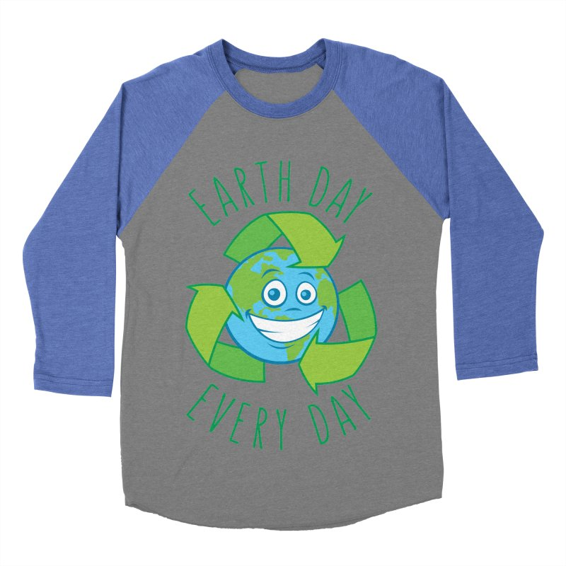 Earth Day Every Day Recycle Cartoon Men's Baseball Triblend Longsleeve T-Shirt by Fizzgig's Artist Shop