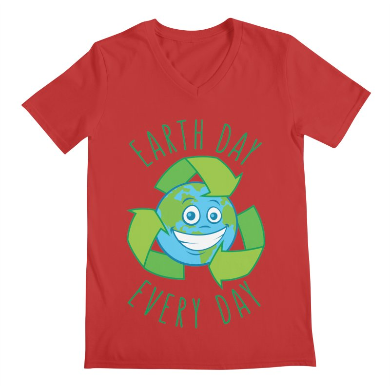Earth Day Every Day Recycle Cartoon Men's Regular V-Neck by Fizzgig's Artist Shop