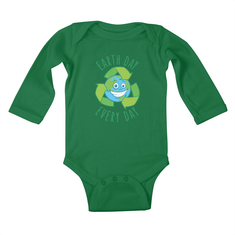 Earth Day Every Day Recycle Cartoon Kids Baby Longsleeve Bodysuit by Fizzgig's Artist Shop