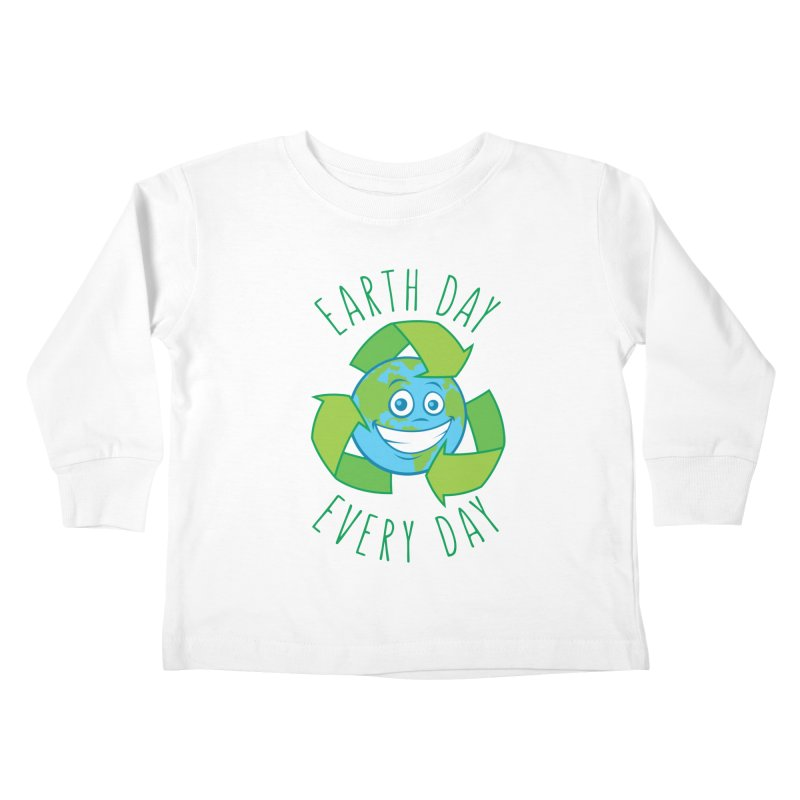 Earth Day Every Day Recycle Cartoon Kids Toddler Longsleeve T-Shirt by Fizzgig's Artist Shop