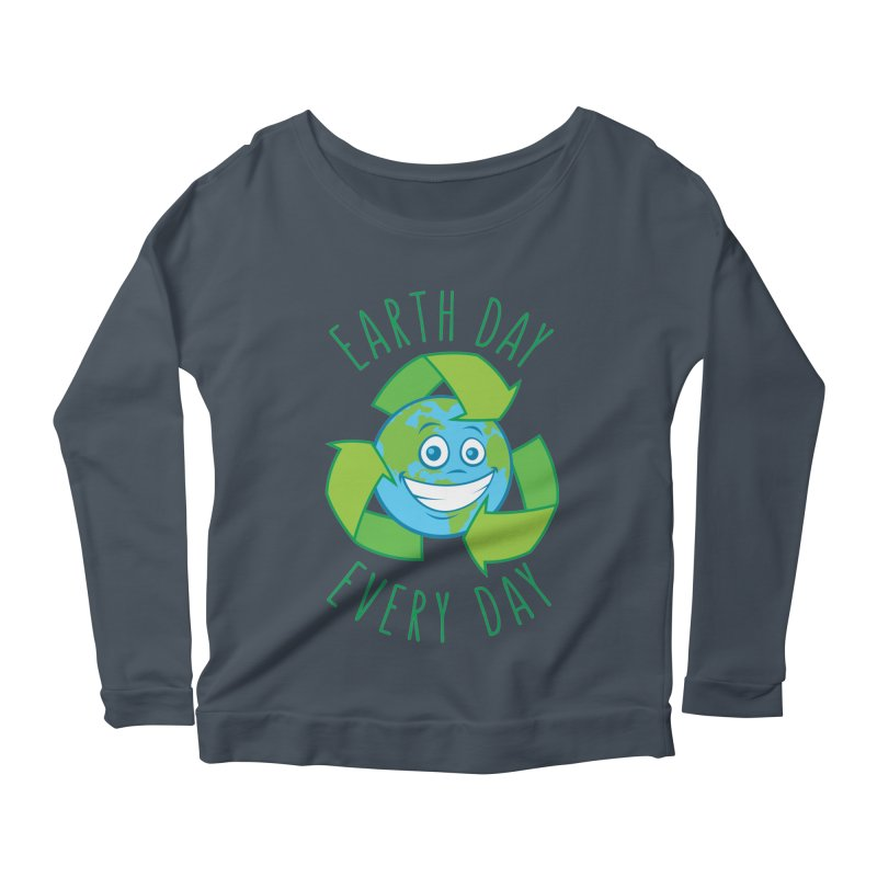 Earth Day Every Day Recycle Cartoon Women's Scoop Neck Longsleeve T-Shirt by Fizzgig's Artist Shop