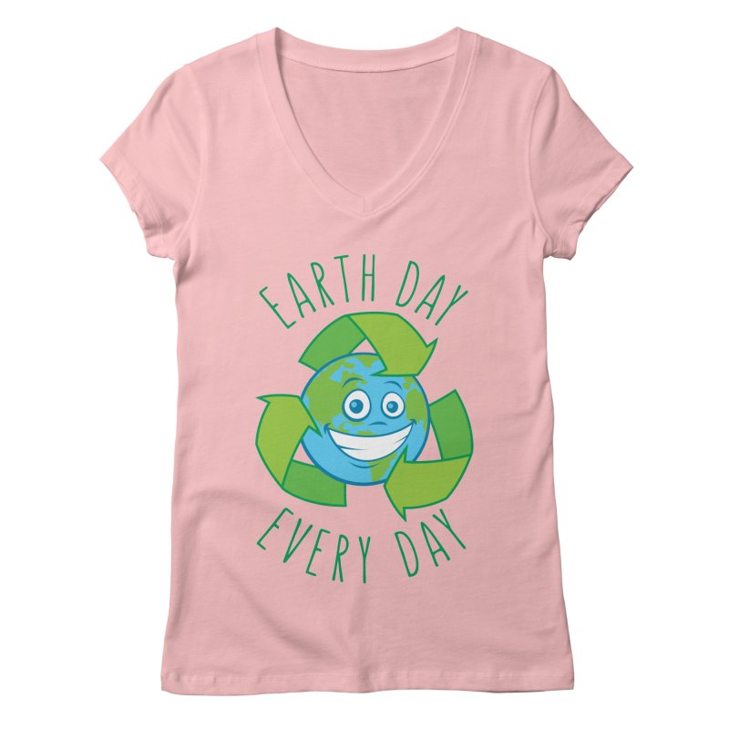 Earth Day Every Day Recycle Cartoon Women's Regular V-Neck by Fizzgig's Artist Shop