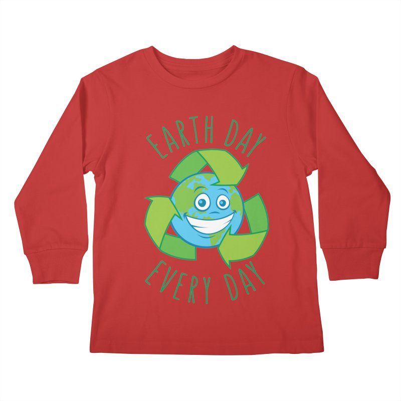 Earth Day Every Day Recycle Cartoon Kids Longsleeve T-Shirt by Fizzgig's Artist Shop