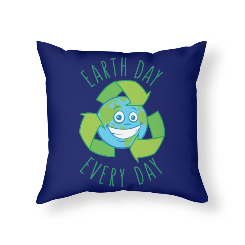 Earth Day Every Day Recycle Cartoon Home Throw Pillow by Fizzgig's Artist Shop