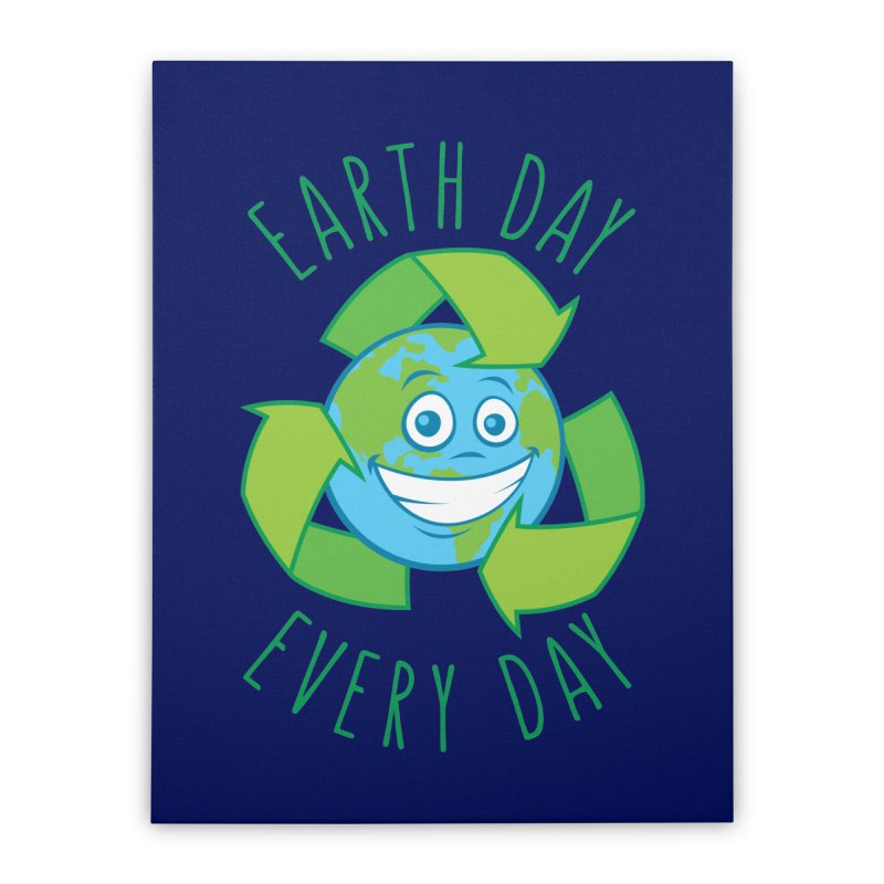 Earth Day Every Day Recycle Cartoon Home Stretched Canvas by Fizzgig's Artist Shop