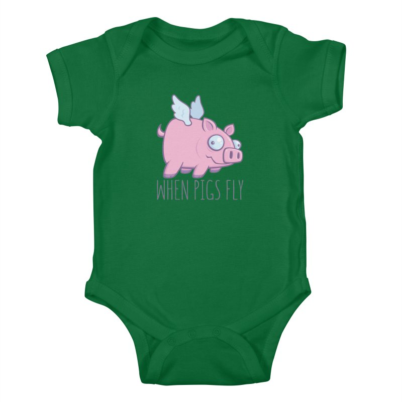 When Pigs Fly with Text Kids Baby Bodysuit by Fizzgig's Artist Shop