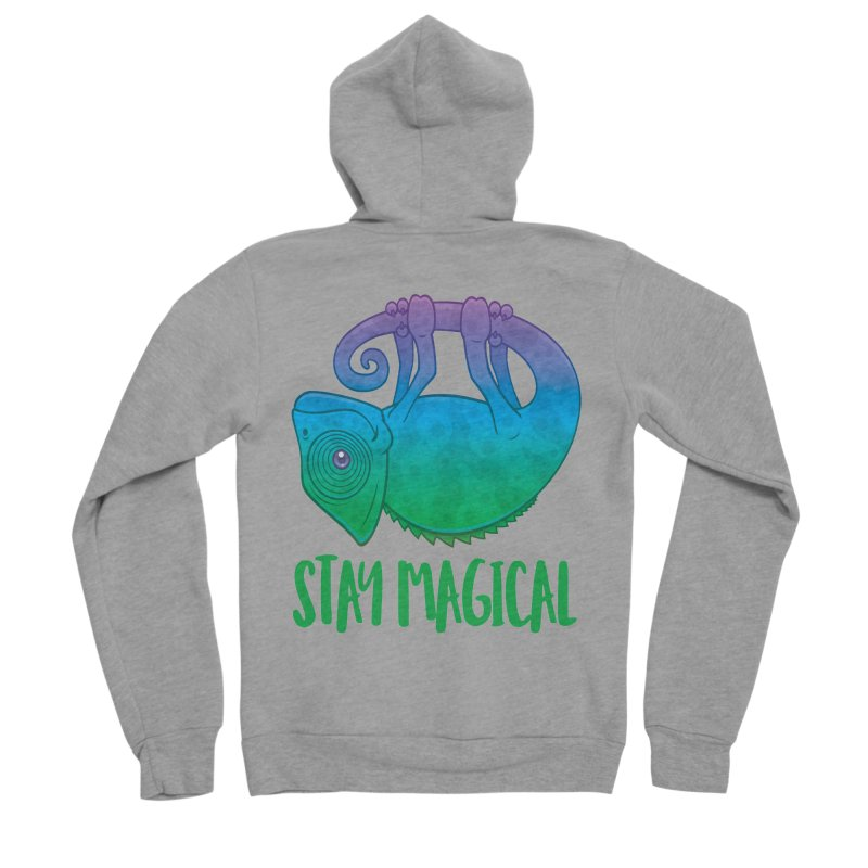 Stay Magical Levitating Chameleon Men's Sponge Fleece Zip-Up Hoody by Fizzgig's Artist Shop