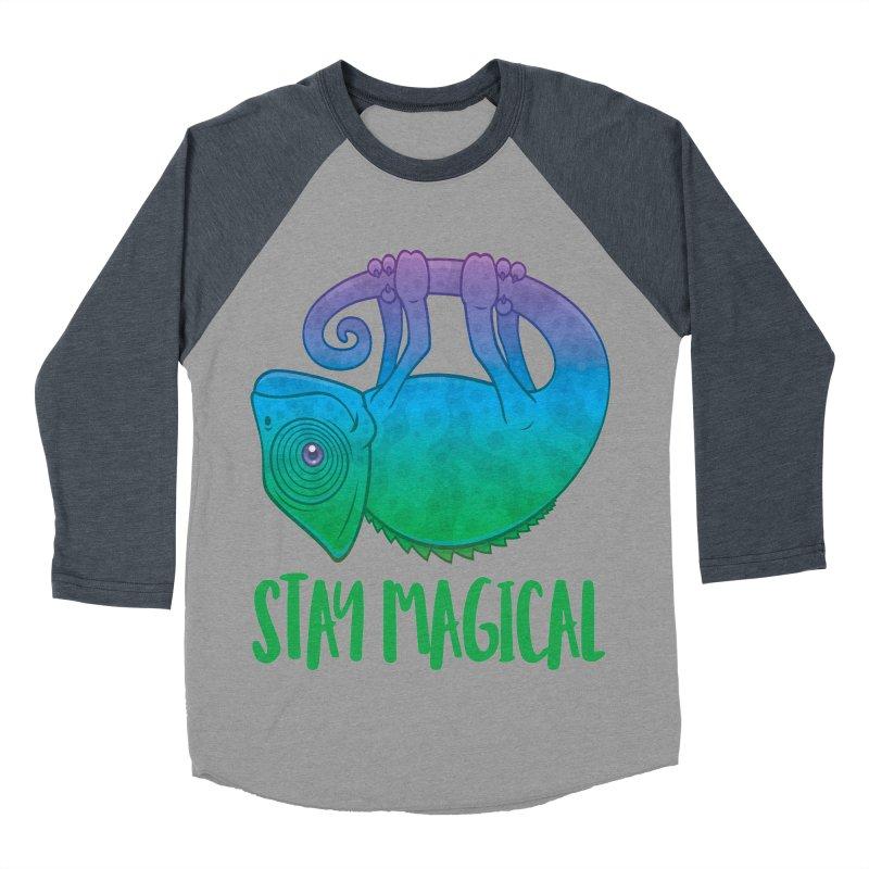 Stay Magical Levitating Chameleon Men's Baseball Triblend Longsleeve T-Shirt by Fizzgig's Artist Shop