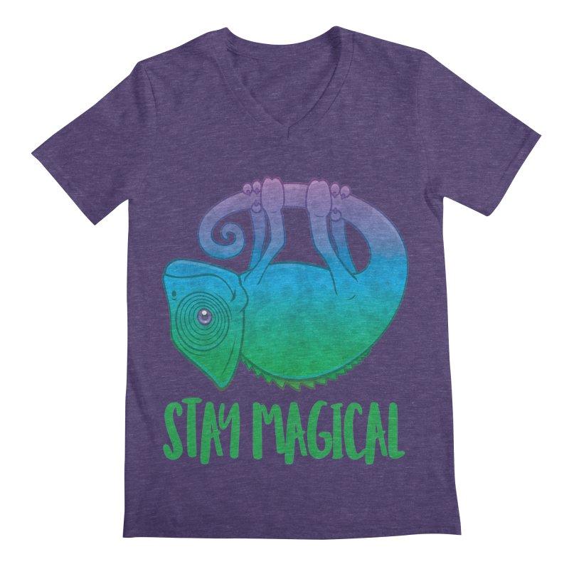 Stay Magical Levitating Chameleon Men's Regular V-Neck by Fizzgig's Artist Shop