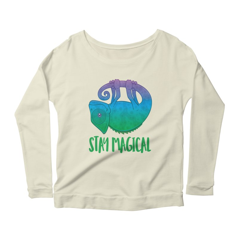 Stay Magical Levitating Chameleon Women's Scoop Neck Longsleeve T-Shirt by Fizzgig's Artist Shop