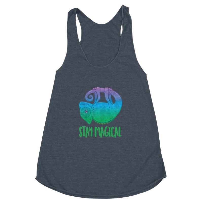 Stay Magical Levitating Chameleon Women's Racerback Triblend Tank by Fizzgig's Artist Shop