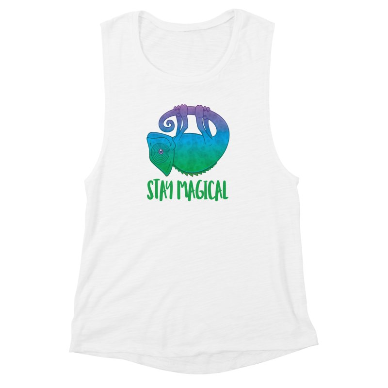 Stay Magical Levitating Chameleon Women's Muscle Tank by Fizzgig's Artist Shop