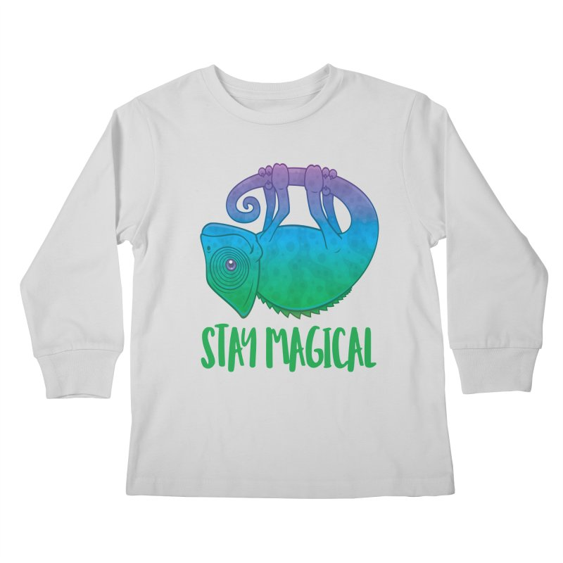 Stay Magical Levitating Chameleon Kids Longsleeve T-Shirt by Fizzgig's Artist Shop