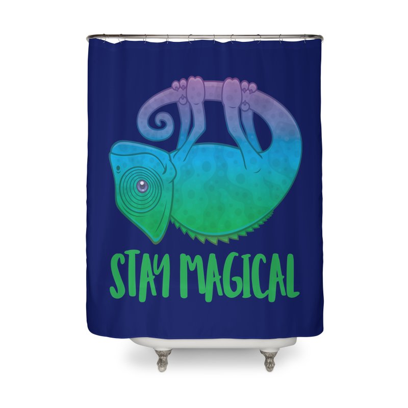 Stay Magical Levitating Chameleon Home Shower Curtain by Fizzgig's Artist Shop