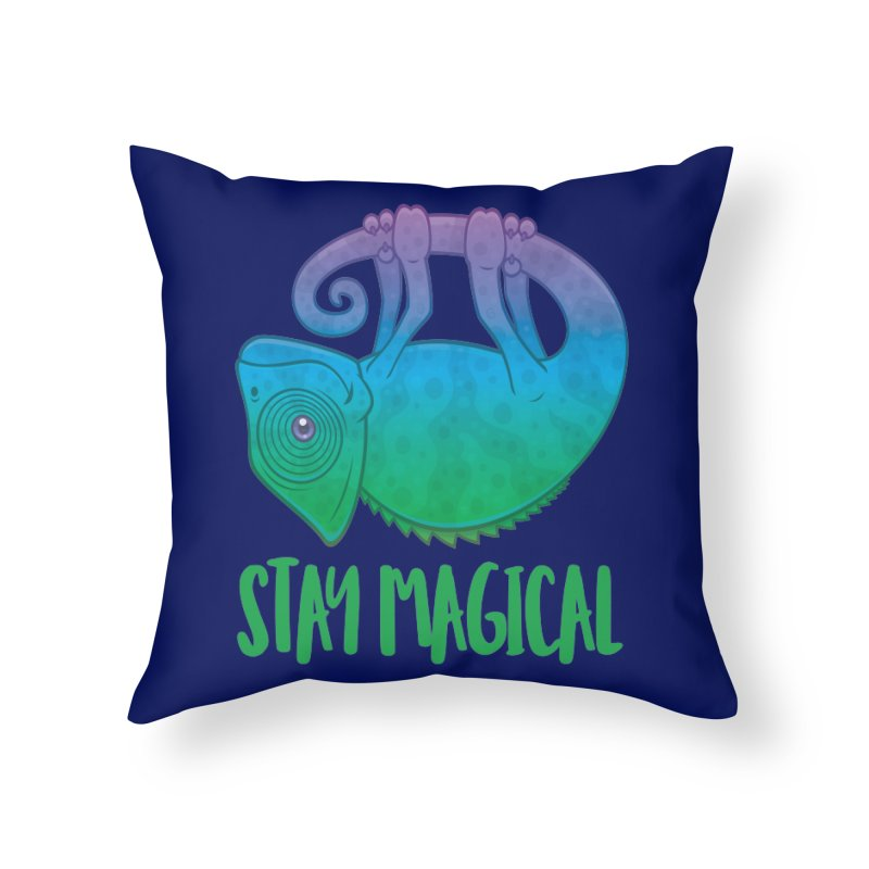 Stay Magical Levitating Chameleon Home Throw Pillow by Fizzgig's Artist Shop