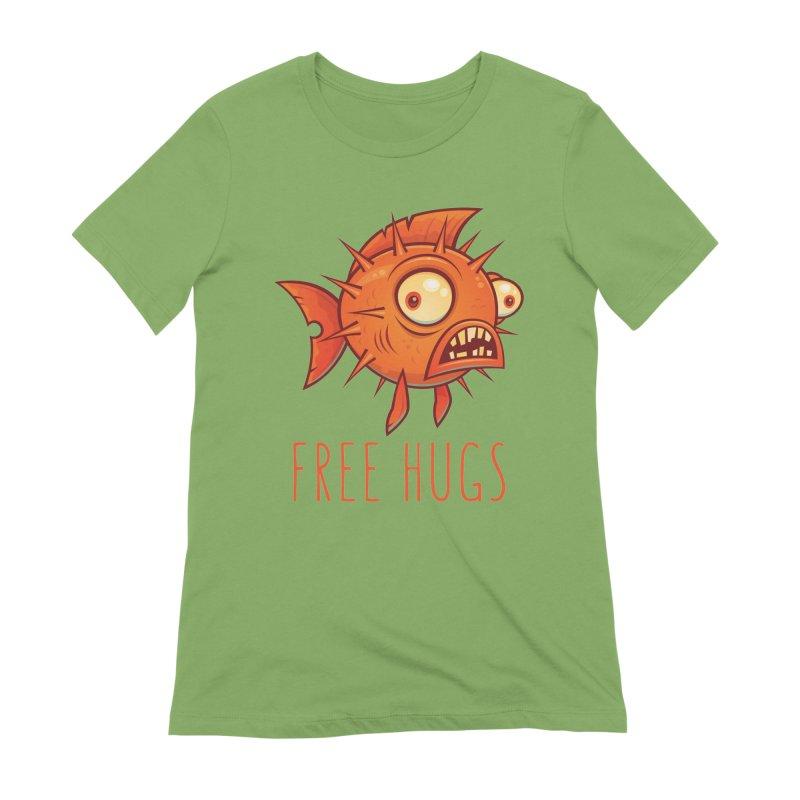 Free Hugs Cartoon Blowfish Women's Extra Soft T-Shirt by Fizzgig's Artist Shop