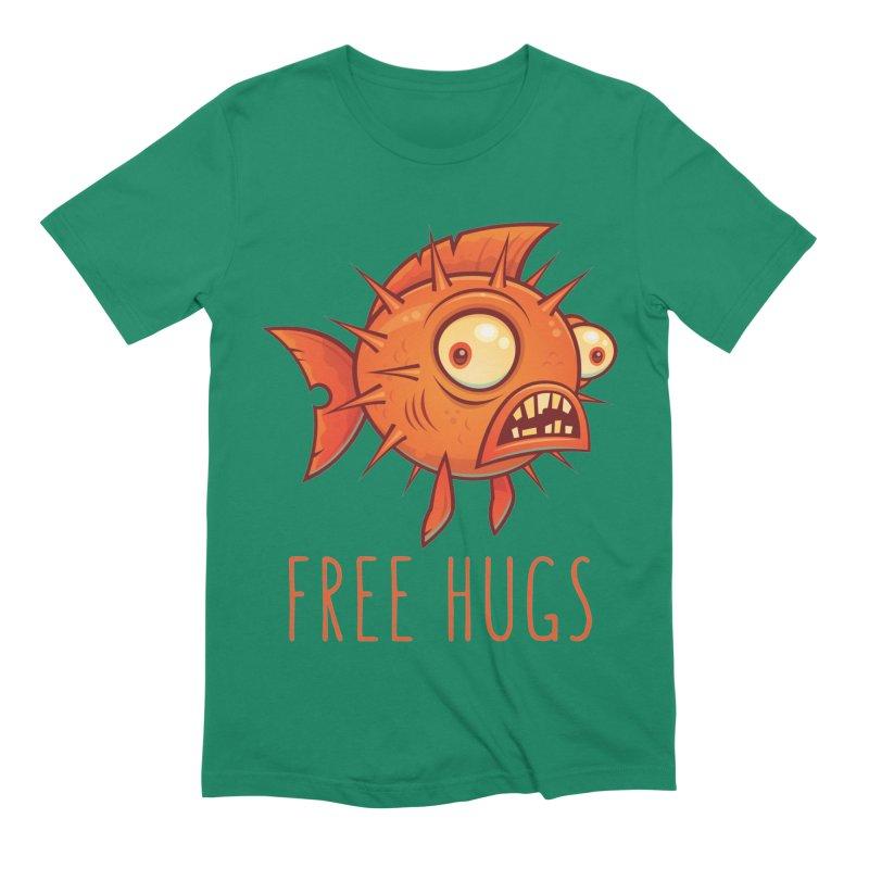 Free Hugs Cartoon Blowfish Men's Extra Soft T-Shirt by Fizzgig's Artist Shop