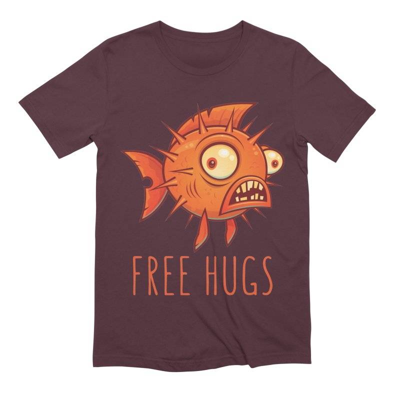 Free Hugs Cartoon Blowfish Men's Extra Soft T-Shirt by Fizzgig's Artist Shop