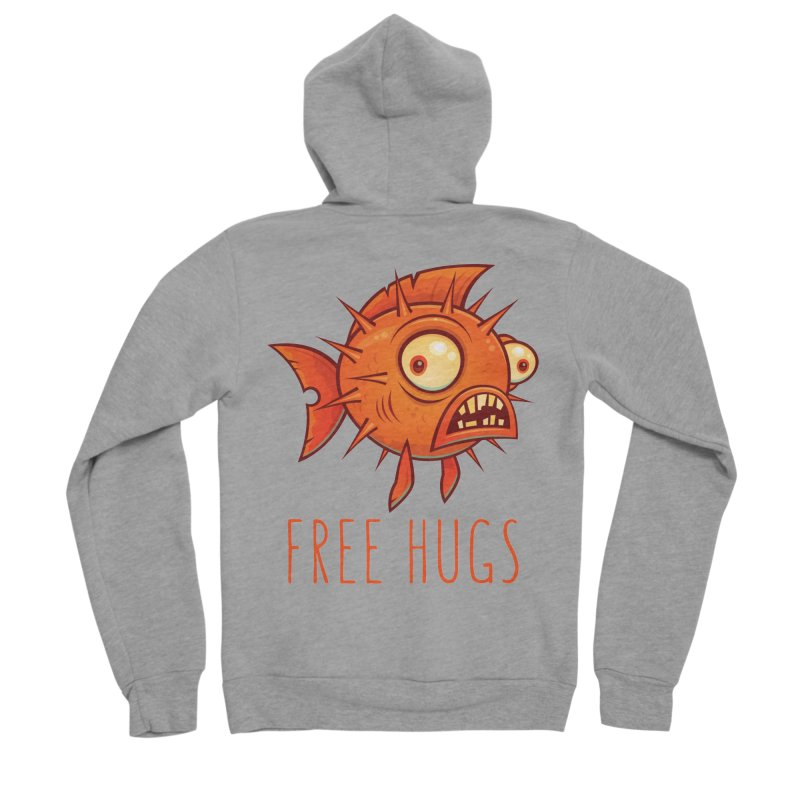 Free Hugs Cartoon Blowfish Women's Sponge Fleece Zip-Up Hoody by Fizzgig's Artist Shop