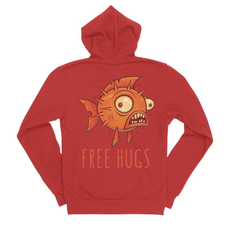 Free Hugs Cartoon Blowfish Women's Sponge Fleece Zip-Up Hoody by Fizzgig's Artist Shop