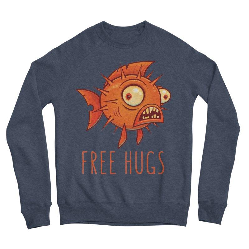 Free Hugs Cartoon Blowfish Men's Sponge Fleece Sweatshirt by Fizzgig's Artist Shop