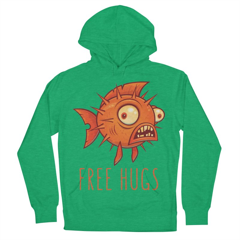 Free Hugs Cartoon Blowfish Men's French Terry Pullover Hoody by Fizzgig's Artist Shop