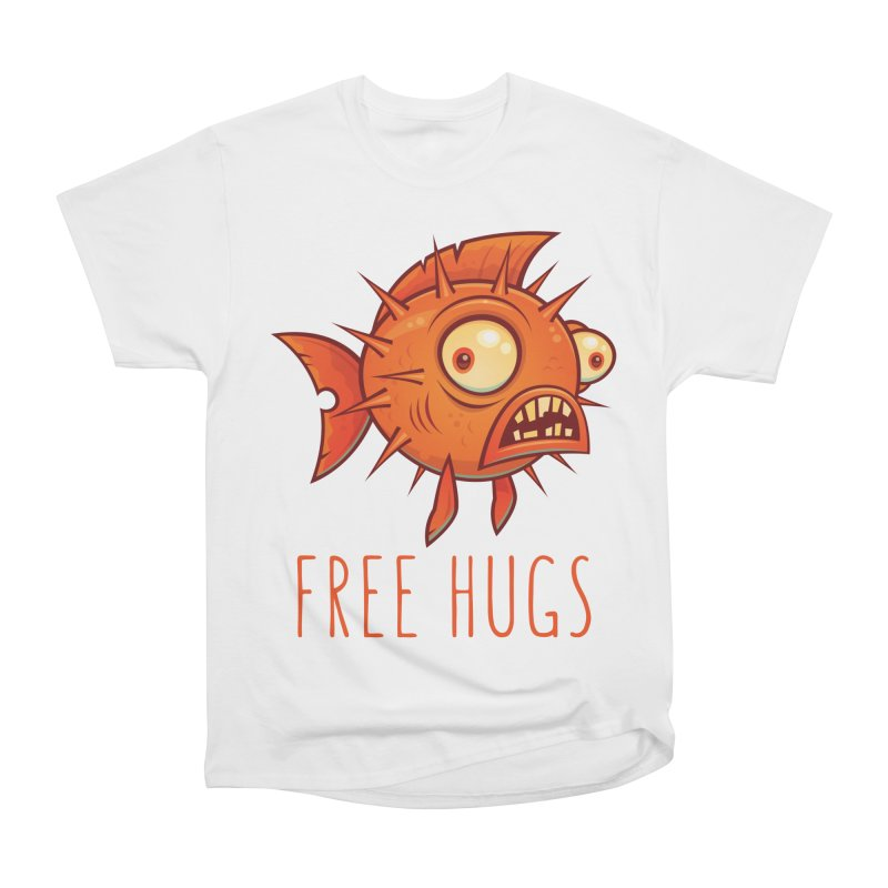 Free Hugs Cartoon Blowfish Women's Heavyweight Unisex T-Shirt by Fizzgig's Artist Shop