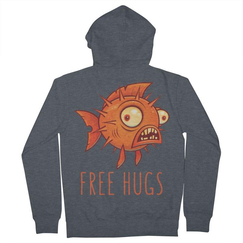 Free Hugs Cartoon Blowfish Men's French Terry Zip-Up Hoody by Fizzgig's Artist Shop