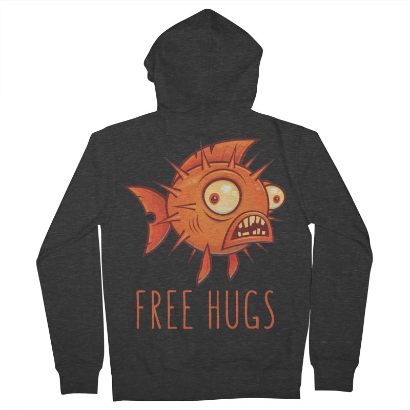 Free Hugs Cartoon Blowfish Men's French Terry Zip-Up Hoody by Fizzgig's Artist Shop