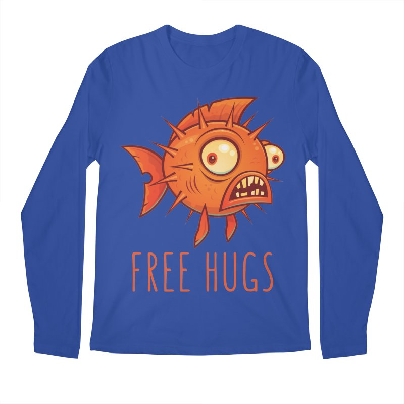 Free Hugs Cartoon Blowfish Men's Regular Longsleeve T-Shirt by Fizzgig's Artist Shop