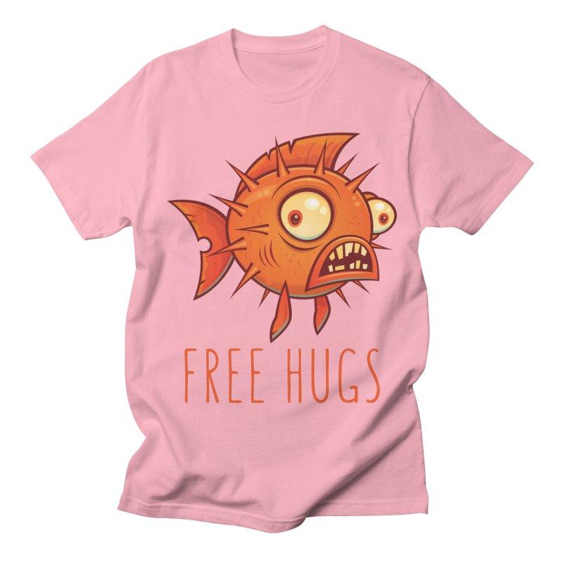 Free Hugs Cartoon Blowfish Men's Regular T-Shirt by Fizzgig's Artist Shop