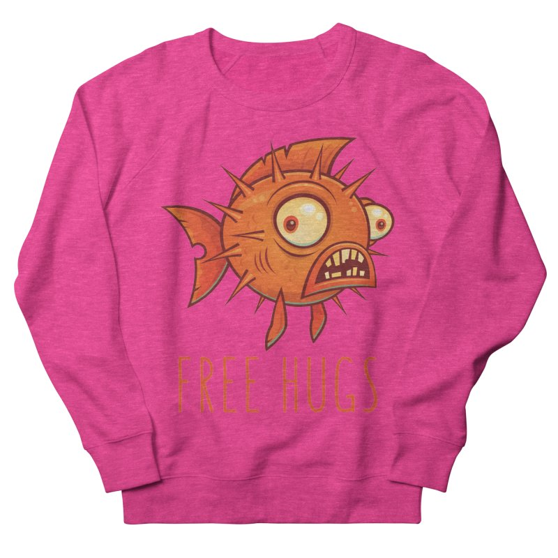 Free Hugs Cartoon Blowfish Men's French Terry Sweatshirt by Fizzgig's Artist Shop