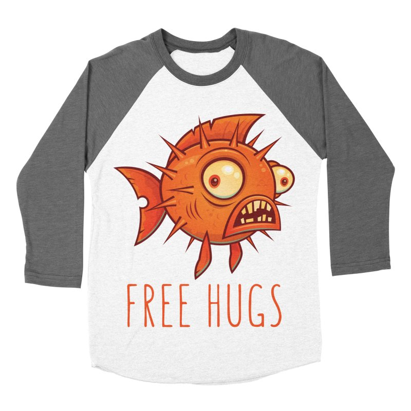 Free Hugs Cartoon Blowfish Men's Baseball Triblend Longsleeve T-Shirt by Fizzgig's Artist Shop