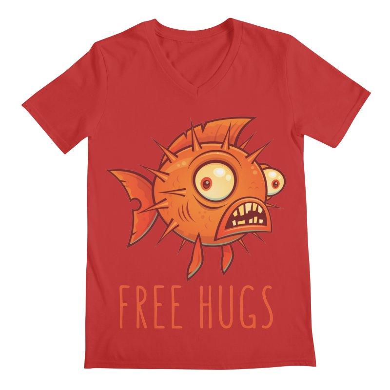 Free Hugs Cartoon Blowfish Men's Regular V-Neck by Fizzgig's Artist Shop