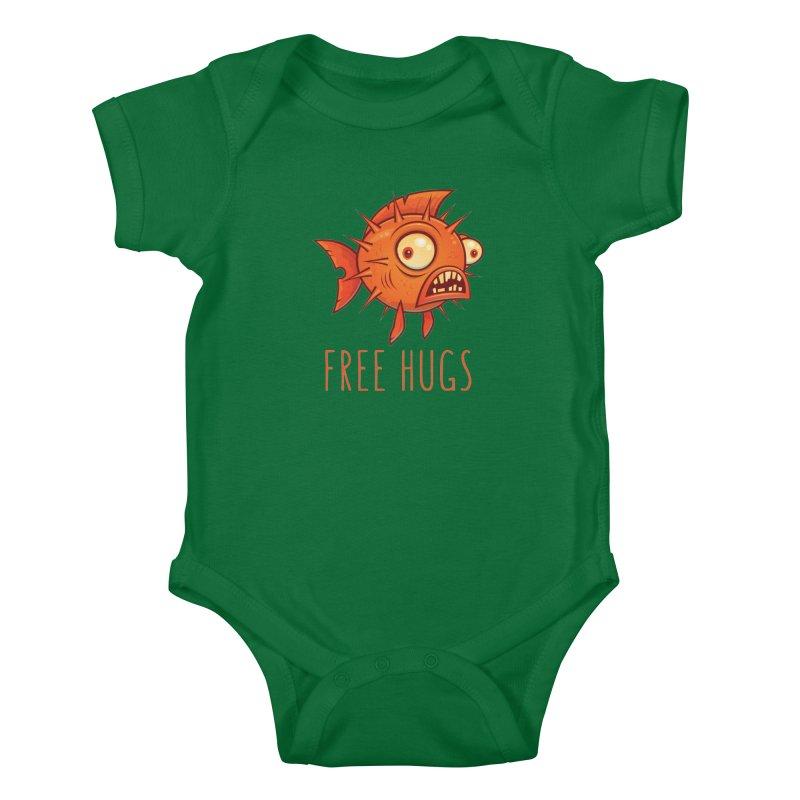 Free Hugs Cartoon Blowfish Kids Baby Bodysuit by Fizzgig's Artist Shop