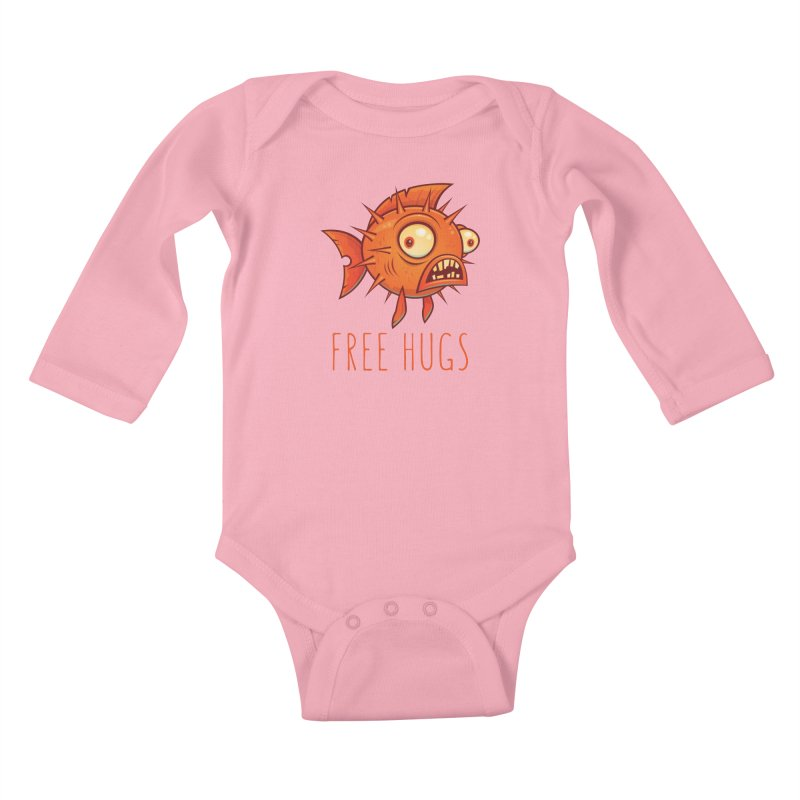 Free Hugs Cartoon Blowfish Kids Baby Longsleeve Bodysuit by Fizzgig's Artist Shop