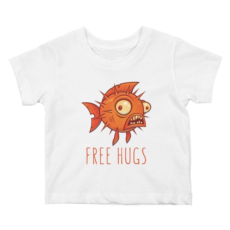 Free Hugs Cartoon Blowfish Kids Baby T-Shirt by Fizzgig's Artist Shop