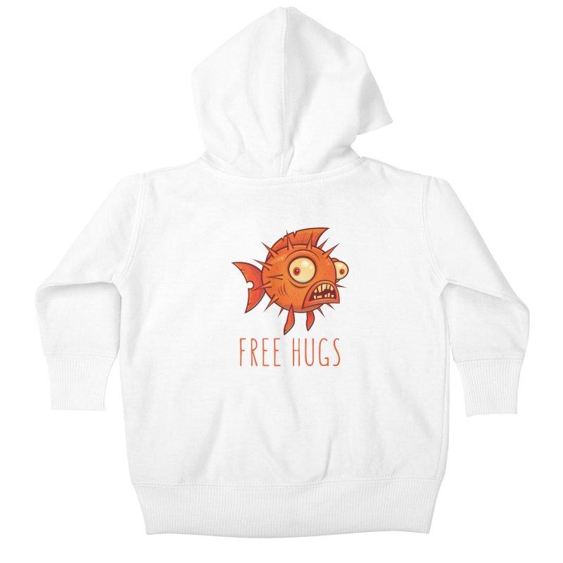 Free Hugs Cartoon Blowfish Kids Baby Zip-Up Hoody by Fizzgig's Artist Shop