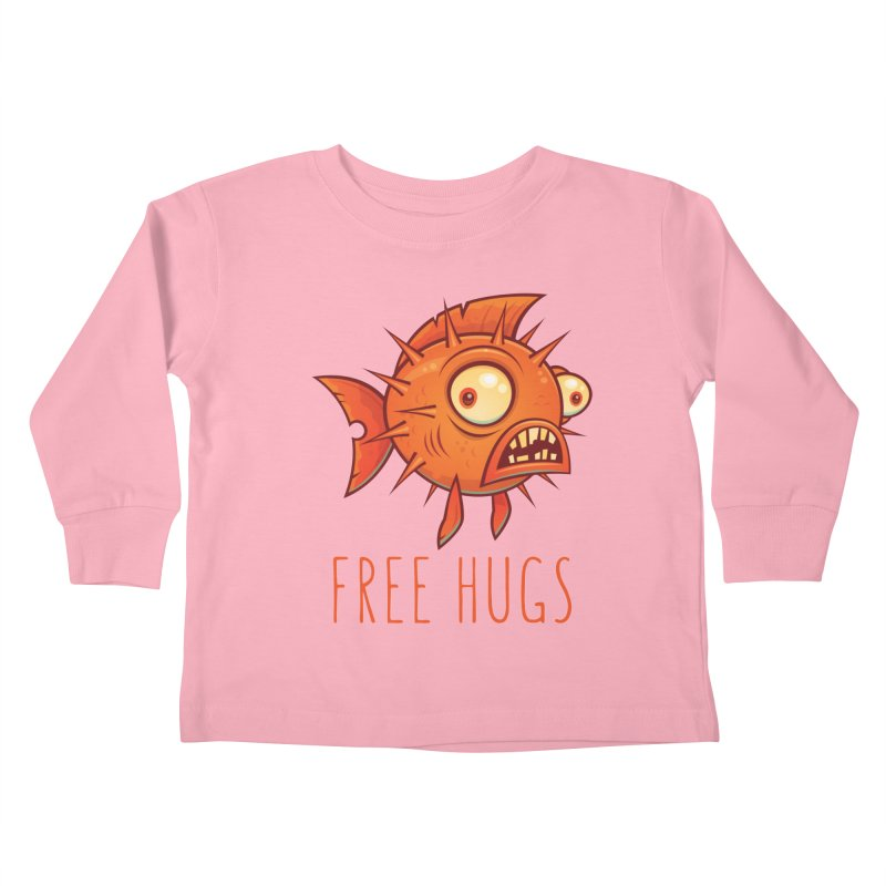 Free Hugs Cartoon Blowfish Kids Toddler Longsleeve T-Shirt by Fizzgig's Artist Shop