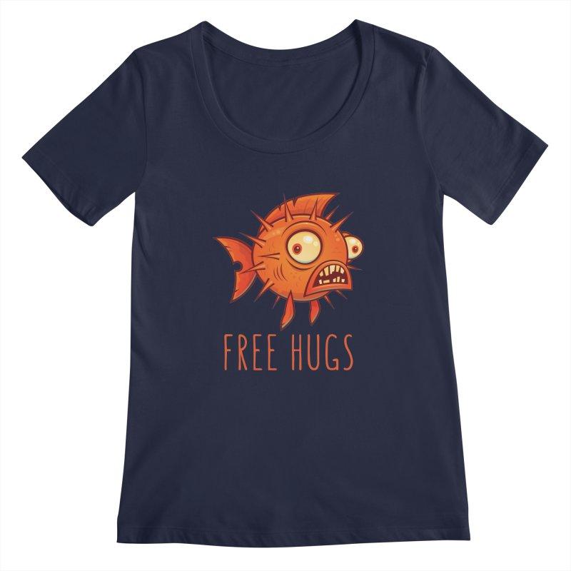 Free Hugs Cartoon Blowfish Women's Regular Scoop Neck by Fizzgig's Artist Shop