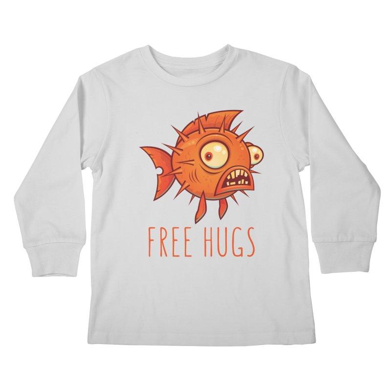 Free Hugs Cartoon Blowfish Kids Longsleeve T-Shirt by Fizzgig's Artist Shop